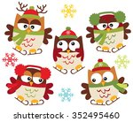 christmas owls on skates | Shutterstock .eps vector #352495460