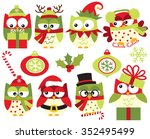 christmas owls  green  | Shutterstock .eps vector #352495499