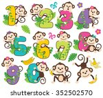 monkey numbers  girl  | Shutterstock .eps vector #352502570