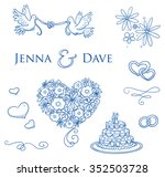 set of romantic love ornaments... | Shutterstock .eps vector #352503728