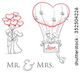 cartoon love wedding couple... | Shutterstock .eps vector #352504226