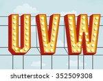vector retro volumetric... | Shutterstock .eps vector #352509308