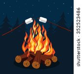 bonfire with marshmallow  ... | Shutterstock .eps vector #352523486