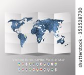 world map with national flags... | Shutterstock .eps vector #352528730
