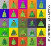 christmas tree icons set  ... | Shutterstock .eps vector #352529900