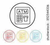 atm line icon | Shutterstock .eps vector #352544336