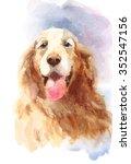 Watercolor Dog Golden Retriever ...
