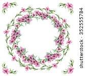 peach floral border circlet ... | Shutterstock . vector #352555784