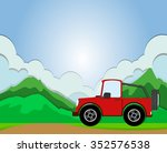 jeep riding on the road... | Shutterstock .eps vector #352576538