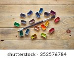 paints and brush to paint on a... | Shutterstock . vector #352576784