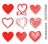 set of abstract heart shapes.... | Shutterstock . vector #352579340
