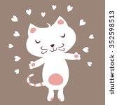 cute white cat in love.   Shutterstock .eps vector #352598513