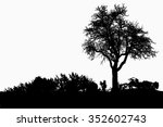 silhouette of tree  bush with... | Shutterstock . vector #352602743