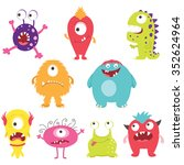 set of cute silly monsters with ...   Shutterstock .eps vector #352624964