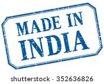 india   made in blue vintage... | Shutterstock .eps vector #352636826