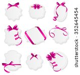 card with pink ribbon and bow... | Shutterstock . vector #352645454