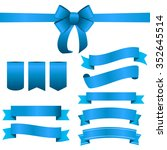 blue ribbon and bow set.... | Shutterstock . vector #352645514