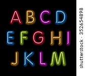neon glow alphabet. design... | Shutterstock . vector #352654898
