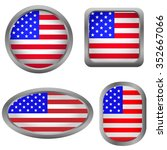 usa flag badge set. raster... | Shutterstock . vector #352667066