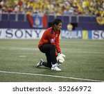 EAST RUTHERFORD NJ - AUGUST 12: Jose Cevallos #1 of Ecuador handles the ball against Jamaica during the International Friendly match at Giants Stadium on August 12 2009 in East Rutherford NJ - stock photo