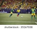 EAST RUTHERFORD NJ - AUGUST 12: Walter Corozo #10 of Ecuador handles the ball against Jamaica during the International Friendly match at Giants Stadium on August 12 2009 in East Rutherford NJ - stock photo