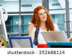 young and pretty business woman ... | Shutterstock . vector #352688114