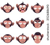 set of smiles monkeys. funny... | Shutterstock .eps vector #352688690