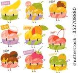 vector cute comic cartoon ice... | Shutterstock .eps vector #352708880