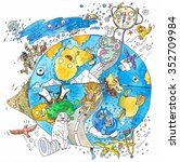 watercolor earth  cartoon...   Shutterstock . vector #352709984