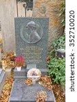 Small photo of PRAGUE, CZECH REPUBLIC - NOVEMBER 12, 2015: Vaclav Vojtisek family grave in Vysehrad cemetery of Prague. Vaclav Vojtisek (1883-1974) was a Czech historian, archivist, professor and academician