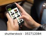 online shopping concept  girl... | Shutterstock . vector #352712084