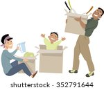 young family moving into a new... | Shutterstock .eps vector #352791644
