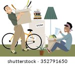young couple moving into a new... | Shutterstock .eps vector #352791650