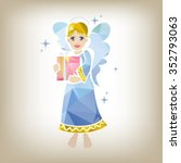 stylized christmas angel with... | Shutterstock .eps vector #352793063
