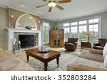 family room in luxury home with ... | Shutterstock . vector #352803284