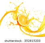 orange juice splashing with its ... | Shutterstock . vector #352815203
