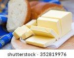 fresh sliced butter on the... | Shutterstock . vector #352819976