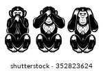 a set of three monkeys | Shutterstock .eps vector #352823624