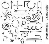 hand drawn arrows  vector set   ... | Shutterstock .eps vector #352829009