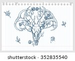 drawing of deer skull with... | Shutterstock .eps vector #352835540