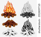 bonfire set   camping  burning... | Shutterstock .eps vector #352839710