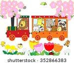 the spring tourist train which... | Shutterstock .eps vector #352866383