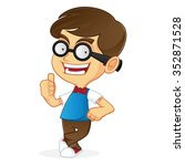 cartoon illustration of a nerd... | Shutterstock .eps vector #352871528