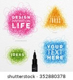 pen drawing tangle elements... | Shutterstock .eps vector #352880378