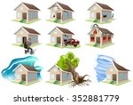 set homes misfortune. property... | Shutterstock .eps vector #352881779