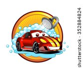 funny cartoon car wash  | Shutterstock .eps vector #352884824