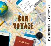 bon voyage  planning vacation...   Shutterstock .eps vector #352909484