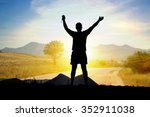 silhouette of man tourist with... | Shutterstock . vector #352911038