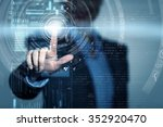 businesswoman touchng with...   Shutterstock . vector #352920470