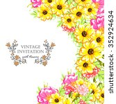 wedding invitation cards with... | Shutterstock . vector #352924634